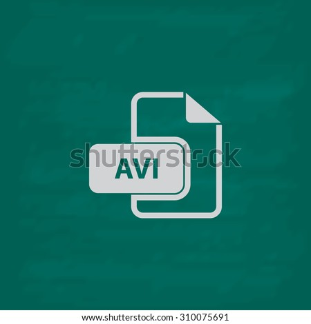 AVI video file extension.  Icon. Imitation draw with white chalk on green chalkboard. Flat Pictogram and School board background. Illustration symbol - stock photo