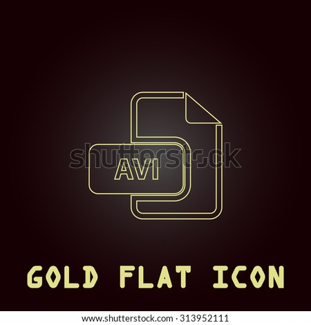 AVI video file extension. Outline gold flat pictogram on dark background with simple text. Illustration trend icon - stock photo