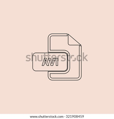 AVI video file extension. Outline icon. Simple flat pictogram on pink background - stock photo
