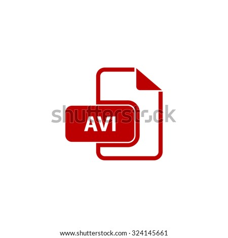 AVI video file extension. Red flat icon. Illustration symbol on white background - stock photo