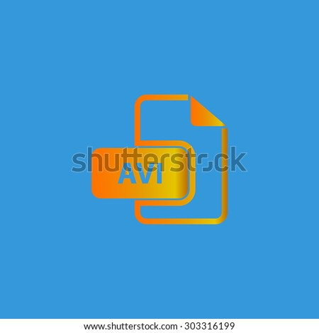AVI video file extension. Simple flat icon on blue background - stock photo