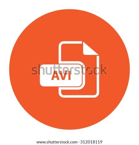 AVI video file extension. Simple flat white icon in the orange circle. illustration symbol - stock photo