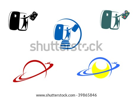 Aviation and travel symbols for design isolated on white or logo template. Vector version also available - stock photo