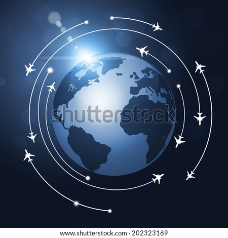 aviation background airplanes flying over the globe
