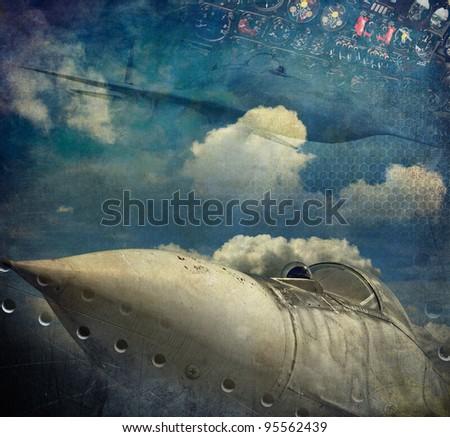 Aviation grunge background - stock photo