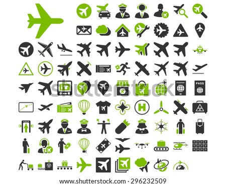 Aviation Icon Set. These flat bicolor icons use eco green and gray colors. Raster images are isolated on a white background. - stock photo