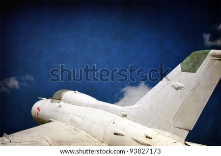 Aviation, military aircraft, old jet fighter background - stock photo