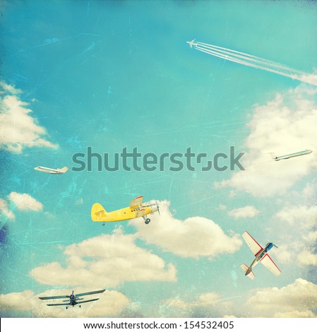 Aviation vintage background - stock photo