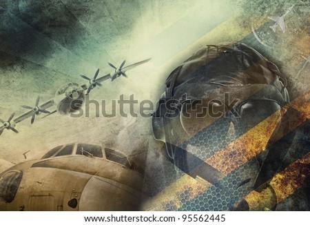 Aviation, vintage military grunge background - stock photo