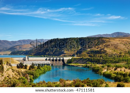 Aviemore hydroelectric dam, New Zealand - stock photo