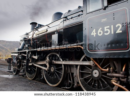 AVIEMORE, SCOTLAND - OCT 27: LMS Ivatt 46512 Class 2 2-6-0 locomotive, one of only seven remaining on October 27, 2012 in Aviemore, Scotland - stock photo