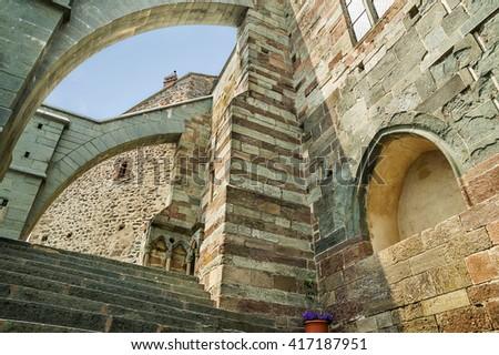 AVIGLIANA,TURIN,ITALY - JUNE 30,2015.Sacra di San Michele - Saint Michael Abbey, ancient religious complex on Mount Pirchiriano in St Ambrogio, Italy - stock photo