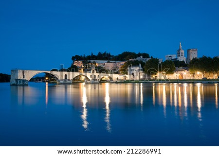 Avignon at night ,France - stock photo