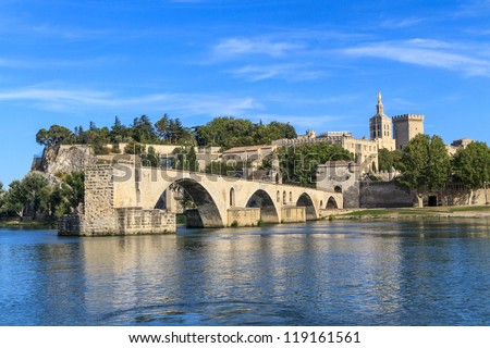 Avignon Bridge with Popes Palace, Pont Saint-Benezet, Provence, France