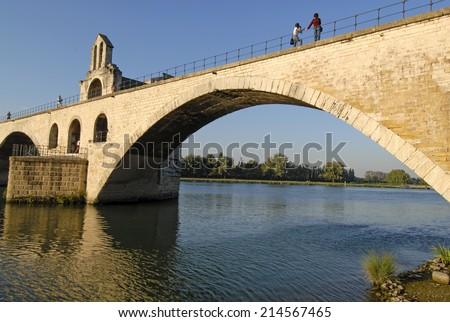 AVIGNON, FRANCE-APRIL 01, 2005: the medieval bridge on the Rhone river, in Avignon.