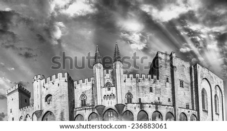 Avignon, France. Panoramic view of Popes Palace. - stock photo
