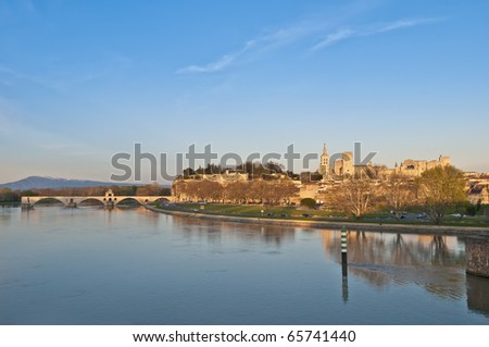 Avignon skyline at sunset as seen from Pont Edouard Daladier, France