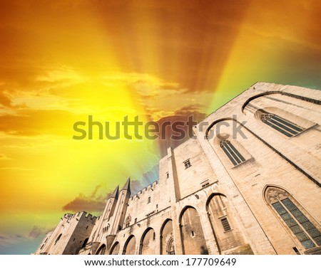 Avignon - View on Popes Palace at dusk, Provence, France. - stock photo