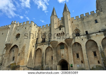 Avignon - View on Popes Palace (Palais des Papes), Provence, France  - stock photo