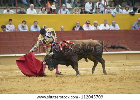AVILA, SPAIN - JUNE 2: Francisco Rivera Ordoez fights in the welfare bullfight of Avila, a city near to Madrid in the middle of Spain in June 2, 2012. - stock photo