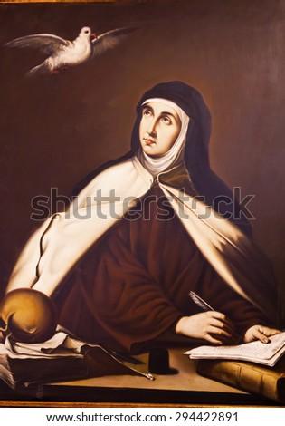 AVILA, SPAIN -  MAY 10, 2014 Saint Teresa Painting Convento de Santa Teresa Avila Castile Spain.  Convent founded 1636 for St Teresa Catholic nun Spanish mystic founded  Carmelite order. - stock photo