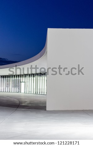 AVILES, SPAIN - APRIL 03 View of Niemeyer Center building, in Aviles, Spain, on April 03, 2011. The cultural center was designed by Brazilian architect Oscar Niemeyer, and was his only work in Spain - stock photo