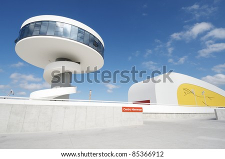 AVILES, SPAIN - AUGUST 10: Niemeyer Center on August 10, 2011 in Aviles.  Designed by Oscar Niemeyer, offers a  multidisciplinary program dedicated to the most diverse art and cultural events. - stock photo