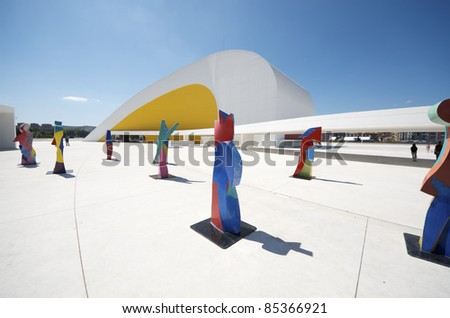 AVILES, SPAIN -  AUGUST 10: Niemeyer Center on August 10, 2011 in Aviles: designed by Oscar Niemeyer, offers a  multidisciplinary program dedicated to the most diverse art and cultural events. - stock photo