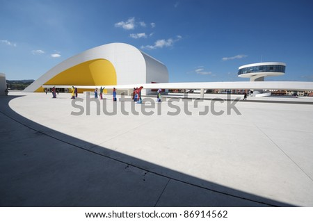 AVILES, SPAIN - AUGUST 10: Niemeyer Center on August 10, 2011 in Aviles. Designed by Oscar Niemeyer, this Center offers a program dedicated to the most diverse art and cultural events. - stock photo