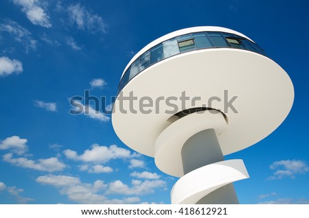 """AVILES, SPAIN - AUGUST 10: Tower on August 10, 2011 in Aviles: building known as """"Cocteleria"""" in the Niemeyer Center. - stock photo"""