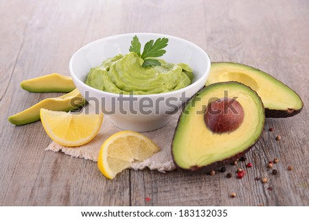 avocado and guacamole - stock photo