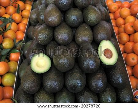 Avocado at farmers market - stock photo