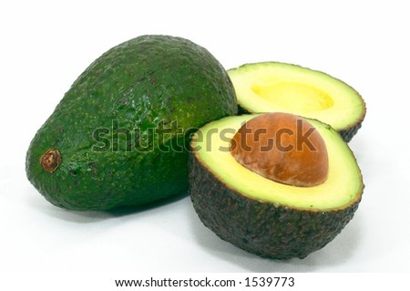 Avocado, Cut brown on it's side, isolated white background - stock photo