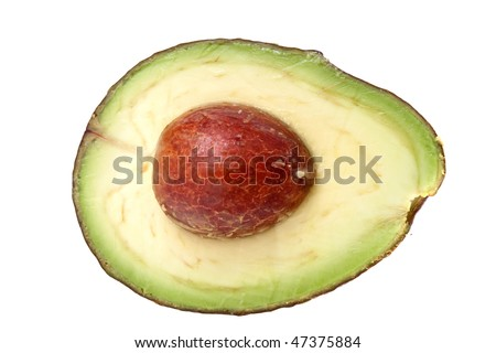 Avocado cut in half on white background
