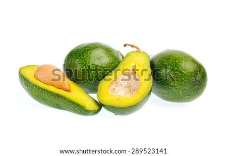 Avocado fruit isolated on a white background - stock photo