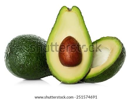 Avocado isolated on a white background. - stock photo