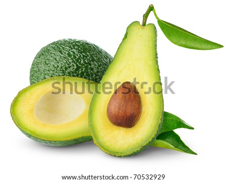 Avocado isolated on white - stock photo