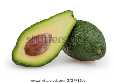Avocado isolated on white background with clipping path - stock photo
