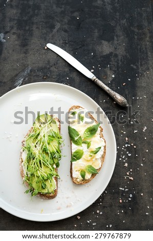 Avocado, ricotta, basil and sprout sandwiches on white ceramic plate over dark grunge backdrop, top view, copy space - stock photo