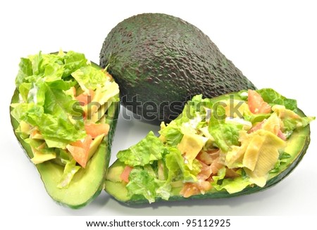 Avocado Salad stuffed with lettuce, tomato and salsa
