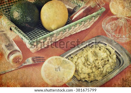 Avocado salad with spices and lemon juice. Mediterranean food. Image done on the old paper textured background in retro style  - stock photo