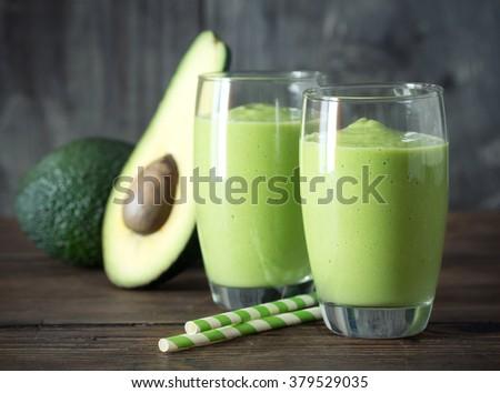 Avocado Smoothie, Made with Fresh Avocados and Non Dairy Milk. - stock photo
