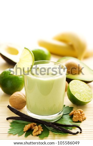 Avocado smoothie with bananas, limes, yogurt and vanilla beans