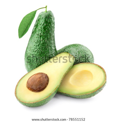 Avocado with half isolated on white background