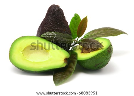 Avocado with leaves on  white background - stock photo