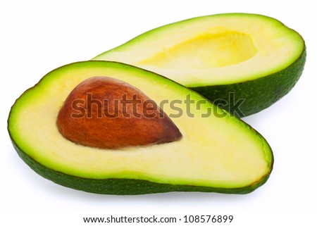 Avocados isolated on a white background - stock photo