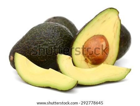 avocados on white background  - stock photo