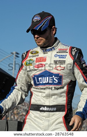 AVONDALE, AZ - APRIL 18: Jimmie Johnson #48 is introduced before the start of the NASCAR Sprint Cup race at the Phoenix International Raceway on April 18, 2009 in Avondale, AZ.