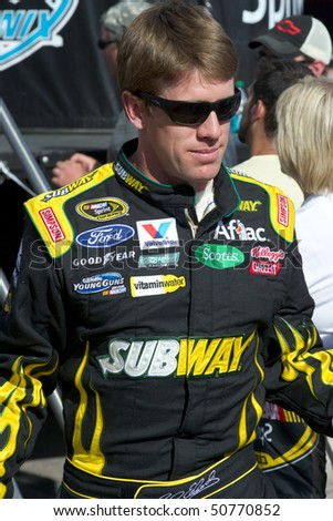AVONDALE, AZ - APRIL 10: NASCAR driver Carl Edwards makes an appearance before the start of the Subway Fresh Fit 600 on April 10, 2010 in Avondale, AZ.