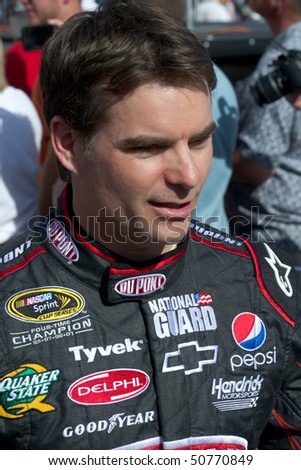 AVONDALE, AZ - APRIL 10: NASCAR driver Jeff Gordon makes an appearance before the start of the Subway Fresh Fit 600 on April 10, 2010 in Avondale, AZ. - stock photo